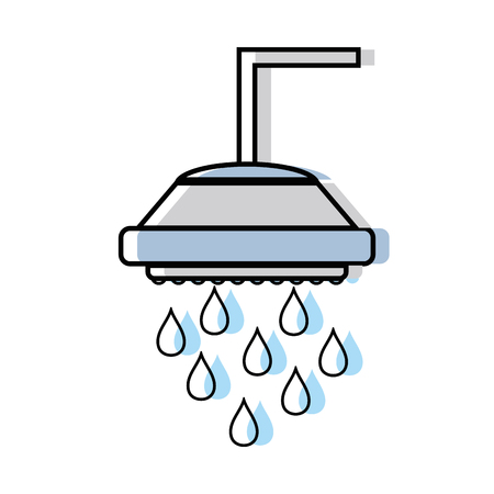 fitting: plumbing tube shower with water drops vector illustration