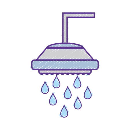 grated plumbing tube shower with water drops vector illustration
