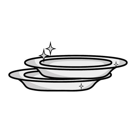 lavar platos: Icono de placa de porcelana.