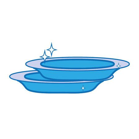 porcelain dishes utensil cleaner design vector illustration