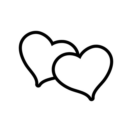 line hearts together to love and romantic symbol vector illustration