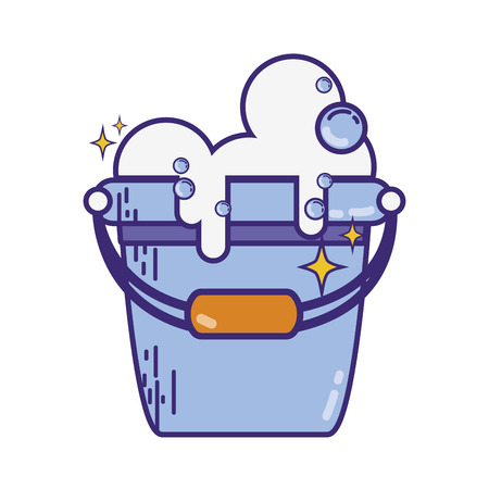 laundry pail with detergent bubbles to clean vector illustration Illustration