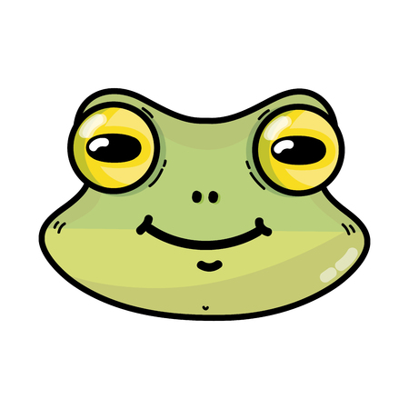 cute frog head wild animal vector illustration Illustration