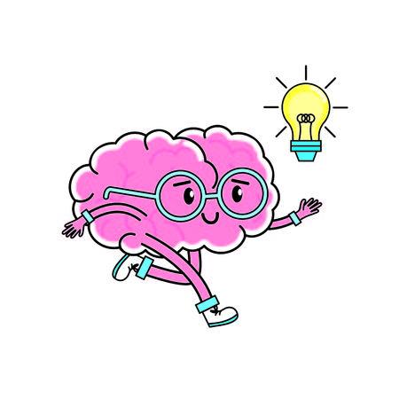メンタルヘルステーマの脳の漫画孤立したデザインベクトルイラスト  イラスト・ベクター素材