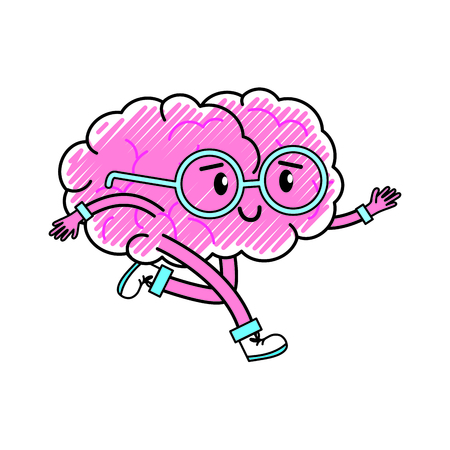 Brain cartoon of mental health theme Isolated design Vector illustration