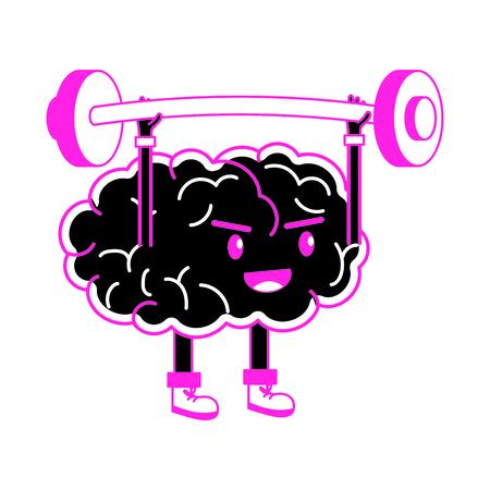 Brain cartoon of mental health theme on white background, vector illustration.
