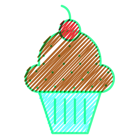 flavor: Muffin of dessert and sweet food theme on white background, vector illustration.