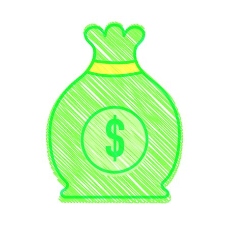 Bag of money financial item and commerce theme on white background, vector illustration.