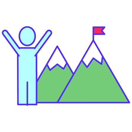 Flag on the mountain design on white background, vector illustration. Illustration