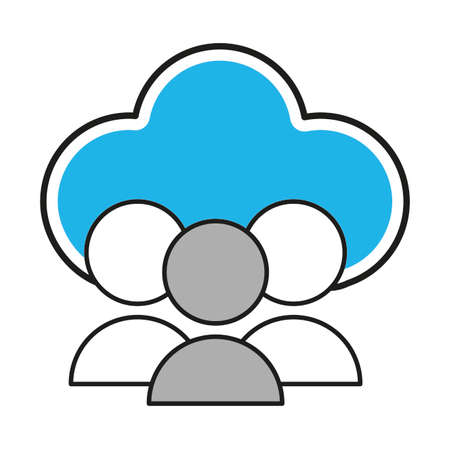 Cloud computing of storage technology and virtual theme Isolated design Vector illustration