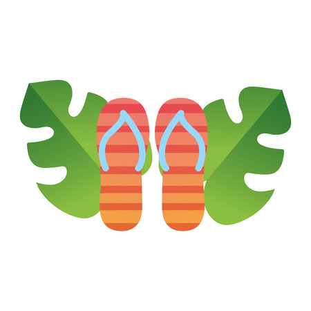 Sandals and leaves of shoes footwear and beach theme Isolated design Vector illustration Illustration