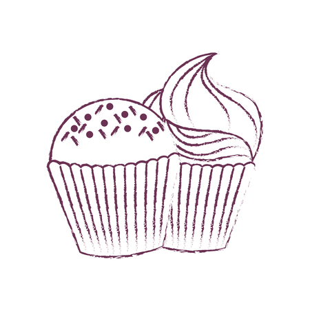 Muffin of dessert and sweet food theme Isolated design Vector illustration