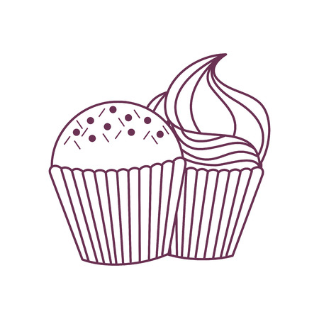 Muffin of dessert and sweet food theme Isolated design Vector illustration. Illustration