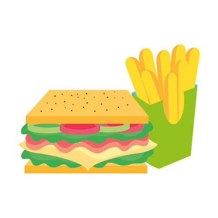 Sandwich of fast food and urban menu theme Isolated design Vector illustration.