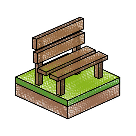 millimeters: Bench of isometric 3d and structure theme Isolated design Vector illustration