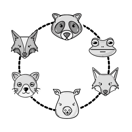 raccoon: grayscale set cute heads wilds animals design Illustration