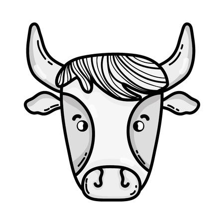 grayscale cute cow head farm animal Illustration