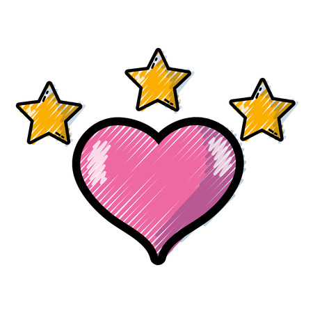 grated heart to love sign with stars shining in the sky