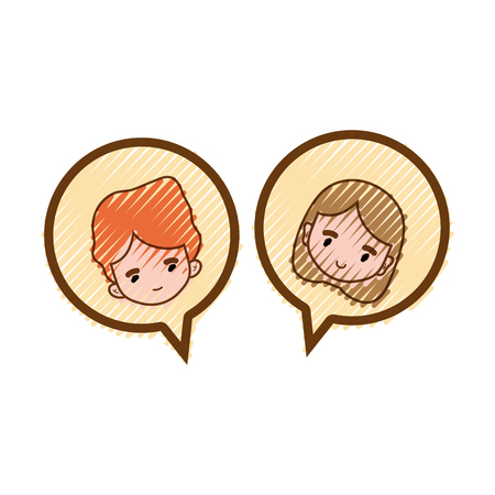 Grated boy and girl head inside chat bubble illustration.