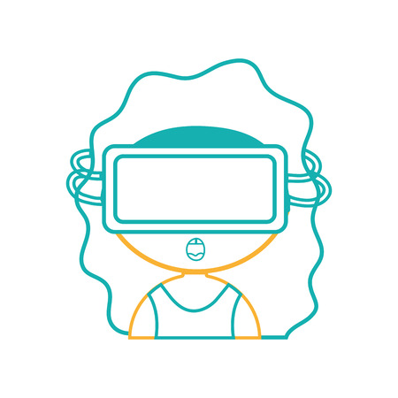 line girl with 3d glasses to virtual video game