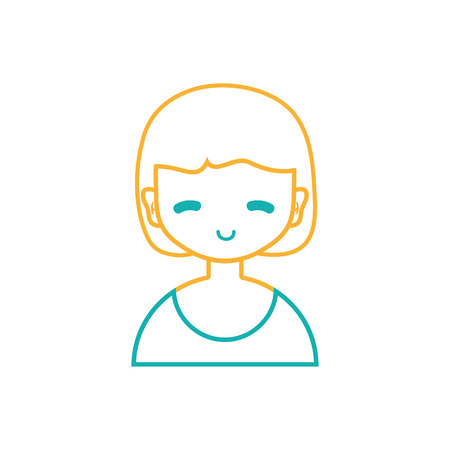 line avatar girl with blouse and hairstyle design