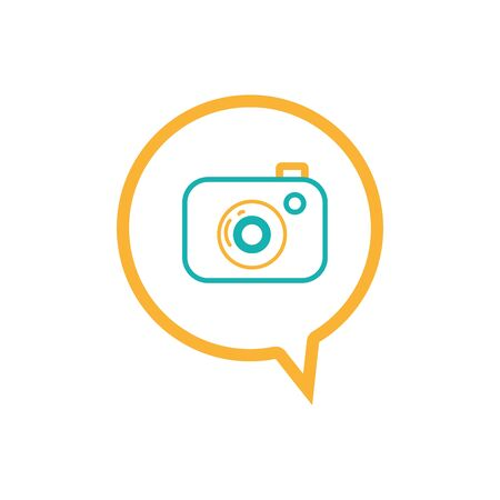 line digital camera technology inside chat bubble Illustration