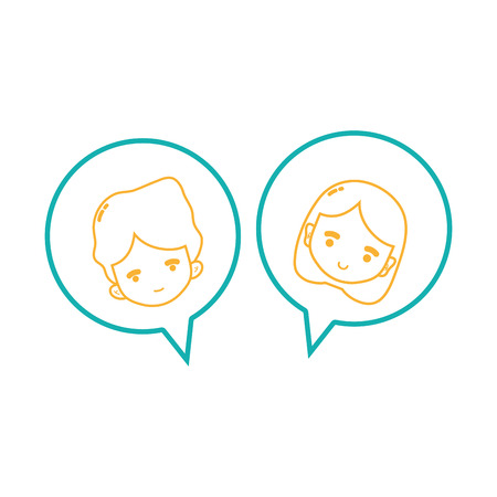 line boy and girl head inside chat bubble Illustration