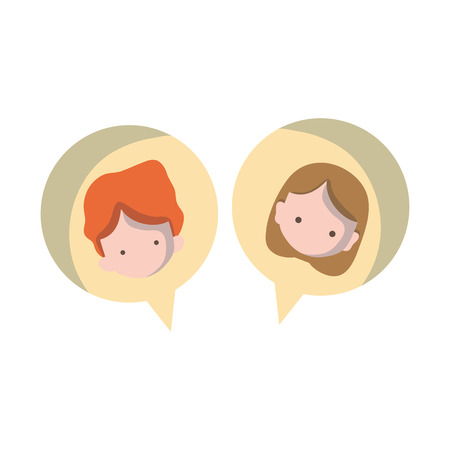 Boy and girl head inside chat bubble.