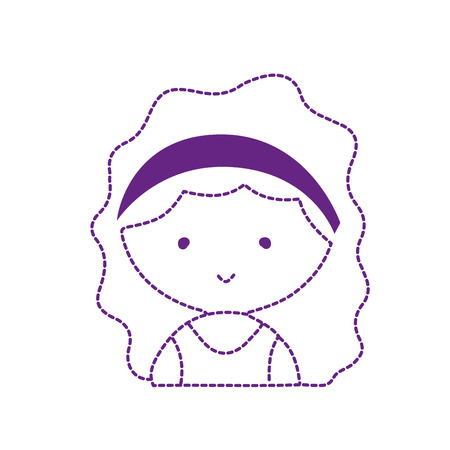 Dotted shape avatar girl with blouse and hairstyle design vector illustration