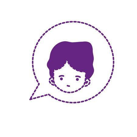 dotted shape boy head inside chat bubble design
