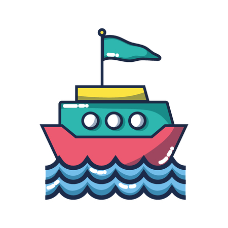 ship transportation with flag design and waves