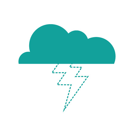 dotted shape cloud with thunder natural weather sky vector illustration