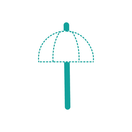 raining: dotted shape umbrella open style to weather protection vector illustration