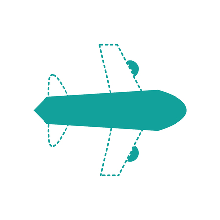 dotted shape airplane flight transportation style to travel vector illustration Illustration