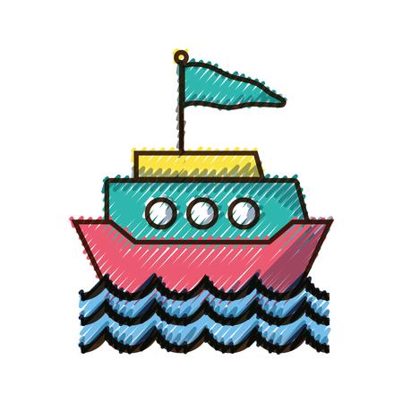 doodle ship transportation with flag design and waves vector illustration Illustration