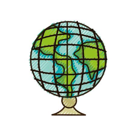 doodle global earth planet desk design to study decoration vector illustration