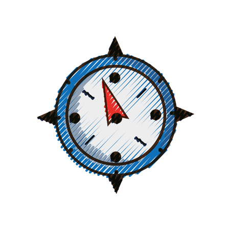 Grated compass object to travel in map direction Illustration