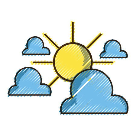grated clouds with sun natural weather in the sky vector illustration Иллюстрация