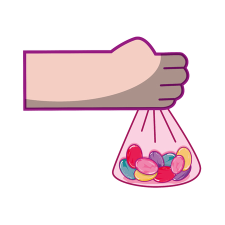 Hand with candy almonds inside bag