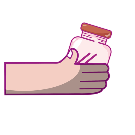 hand with crystal jar to save things vector illustration Çizim