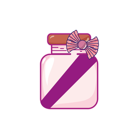crystal jar with ribbon bow decoration design vector illustration