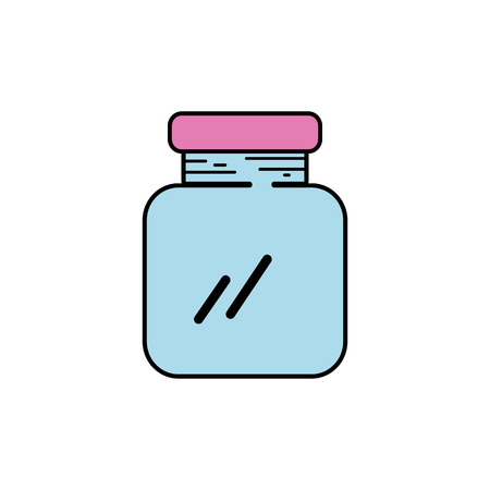 glass and crystal jar object to save vector illustration