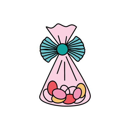 bag with candy almonds sweet dessert vector illustration Illustration