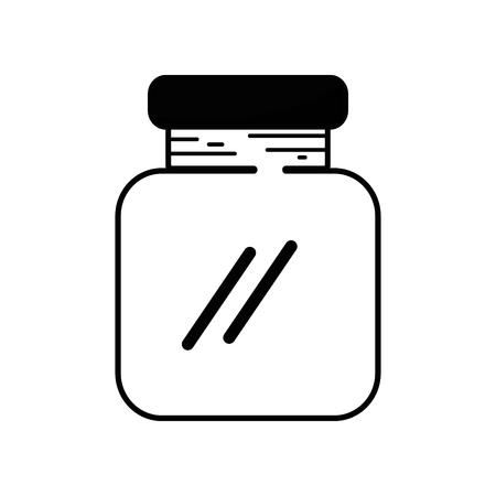 contour glass and crystal jar object to save vector illustration Çizim