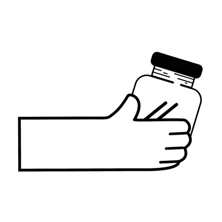 contour hand with crystal jar to save things vector illustration Çizim