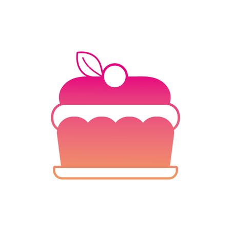 silhouette delicious cake sweet dessert food vector illustration Illustration