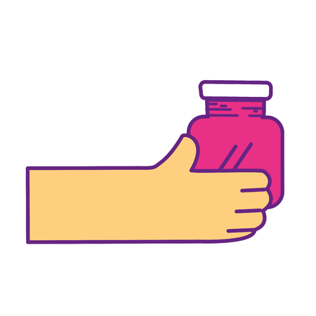 Hand with crystal jar to save things Illustration