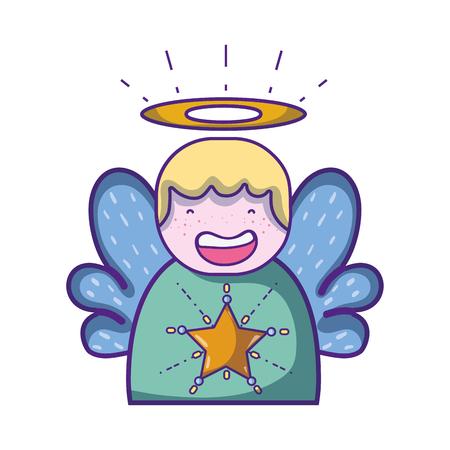 schattige engel met vleugels en aureool ontwerp