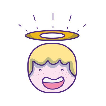 Tenera testa di angelo felice con design aureola Archivio Fotografico - 90008866