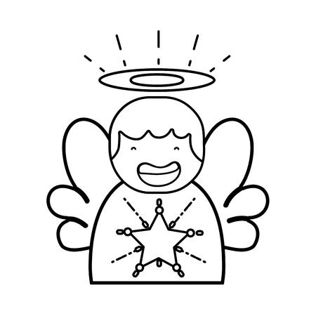 Leuke engel met vleugels en aureoolontwerp.